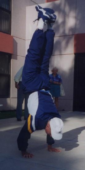 Nissen doing a Handstand