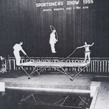 Circus act with trampoline